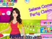 Selena Gomez face curatenie si decoreaza casa pentru party
