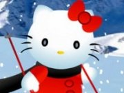 Hello Kitty cu schiurile