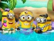 Kevin, Stuart și Bob la piscina