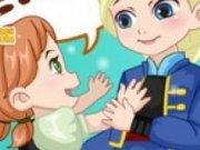 Anna si Elsa fac un om de zapada