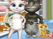 Talking Tom si Angela Cumparaturi si gatit