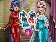 Tris si Bove probeaza costumul Buburuza Miraculoasa si al lui Elsa