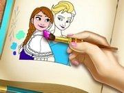 Carte de colorat cu printesele Frozen