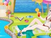 Jack si Elsa  se relaxeaza la piscina